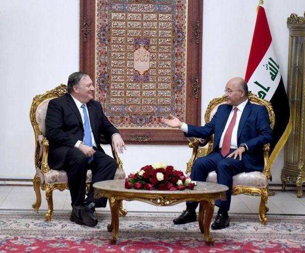 رئيس العراق برهم صالح ووزير الخارجية الأمريكي مايك بومبيو