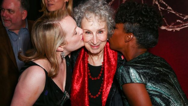 The Handmaid's Tale TV stars Elisabeth Moss (left) and Samira Wiley with Margaret Atwood