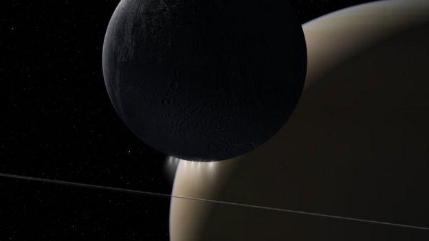 Imagen de Saturno y Encélado