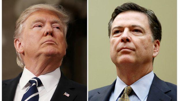 الرئيس الأمريكي دونالد ترامب والمدير السابق لمكتب التحقيقات الفيدرالي جيمس كومي