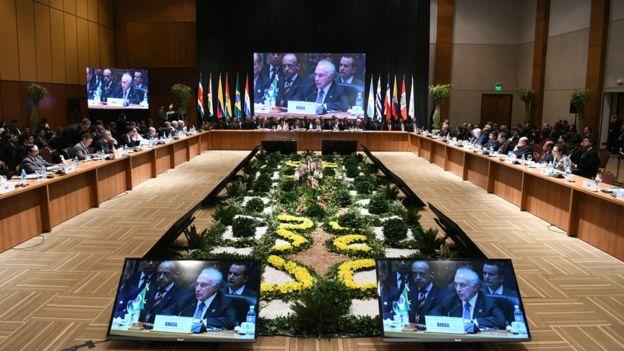 El presidente Michel Temer en una reunión de Mercosur.