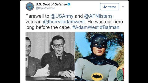 Tweet from US defence department