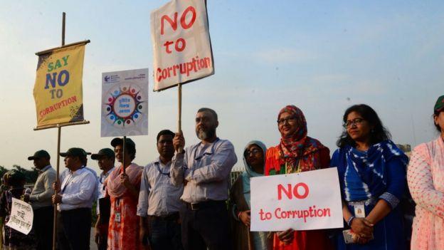 Una manifestaci�n contra la corrupci�n en Daca, 2019