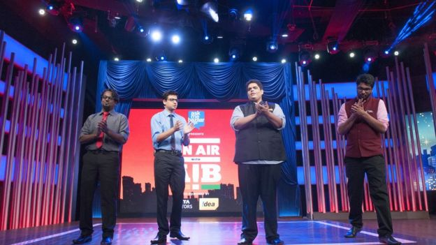 Members of the comedy troupe All India Bakchod (AIB), Tanmay Bhat ( 2 R) , Rohan Joshi (2 L), Gursimran Khamba (R) and Ashish Shakya (L) recording its first television gig, On Air with AIB