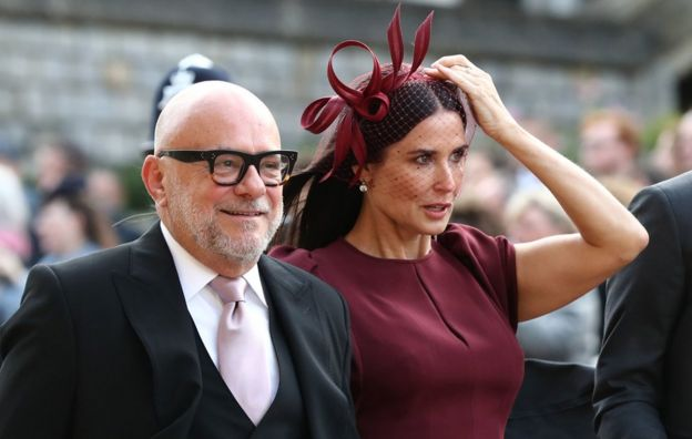 "Demi Moore (right) arrives ahead of the wedding of Princess Eugenie to Jack Brooksbank at St George""s Chapel in Windsor Castle"