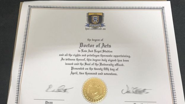 a degree certificate from axact run neil wilson university