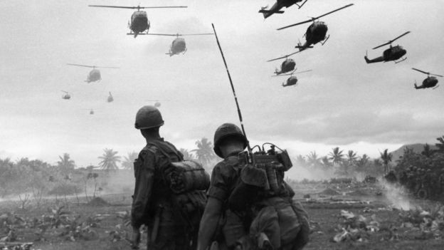 Vietnam us relations what the vietnamese say bbc news us combat helicopters fly over two american soldiers on an isolated landing zone during operation pershing sciox Image collections