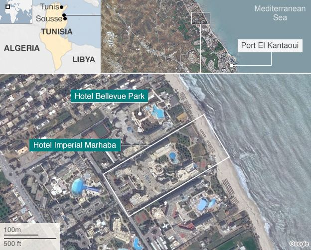 Map showing the location of the Tunisia attack
