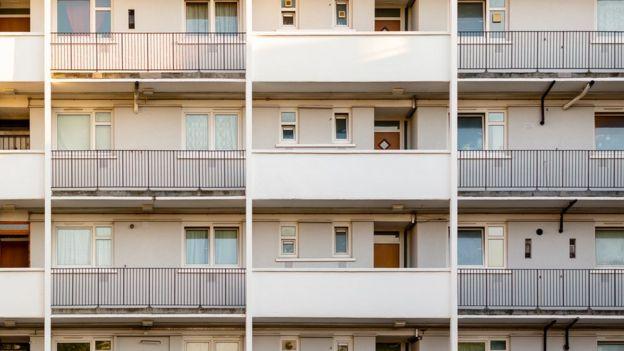 block of flats with balconies