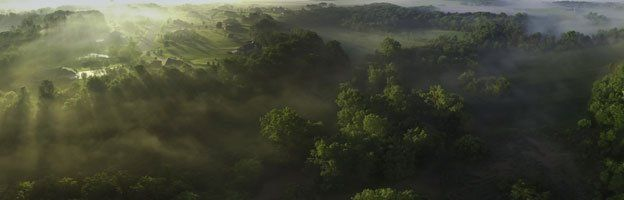 Aerial view of foggy valley at sunrise