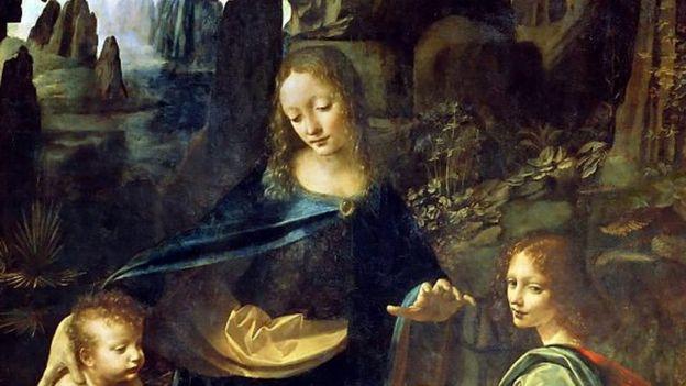 Detalle de 'La Virgen de las Rocas', de Da Vinci.