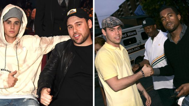 Scooter Braun with Justin Bieber (L) and Kanye West