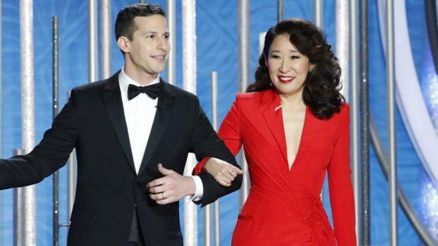 Andy Samberg y Sandra Oh
