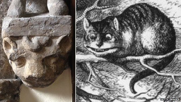 The stone carving in Croft and Tenniel's Cheshire Cat