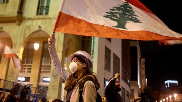 Anti-government protesters in Beirut, Lebanon (21 January 2020)