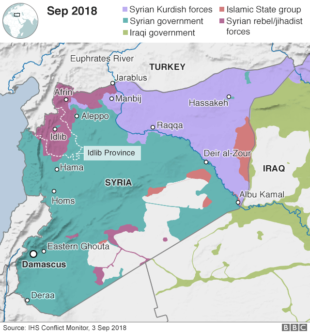 Map: Areas of control in Syria as of 3 Sep 2018