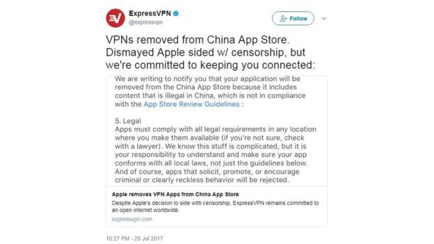 Apple 'pulls 60 VPNs from China App Store' - BBC News