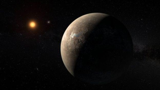 Ilustración artística de Proxima Centauri y uno de sus exoplanetas