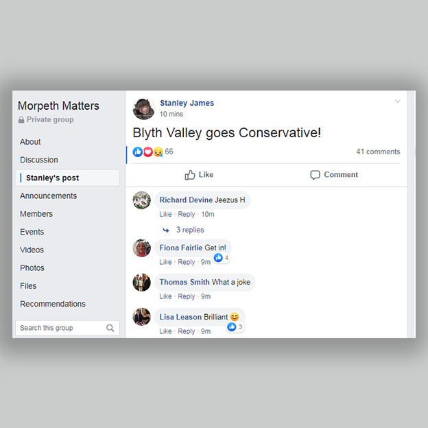 "Facebook post, ""Blythe Valley goes Conservative!"""
