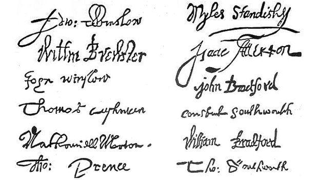 Firmas del pacto del Mayflower, un conjunto de reglas para el autogobierno establecido por los colonos ingleses que viajaron al Nuevo Mundo.