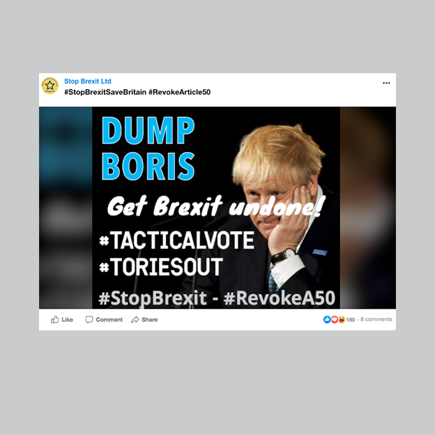 """A picture of a post saying """"Dump Boris"""""""