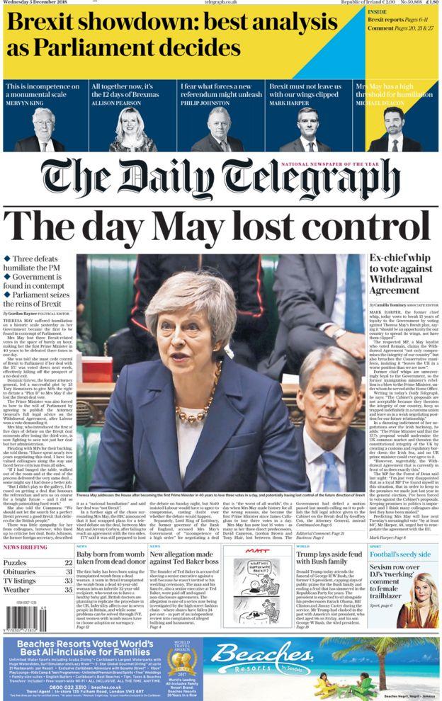 Daily Telegraph trang chính 5/12/18