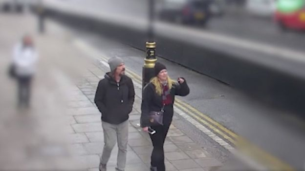 CCTV of victim Kurt Cochran walking on Westminster Bridge with his wife Melissa on 22 March 2017