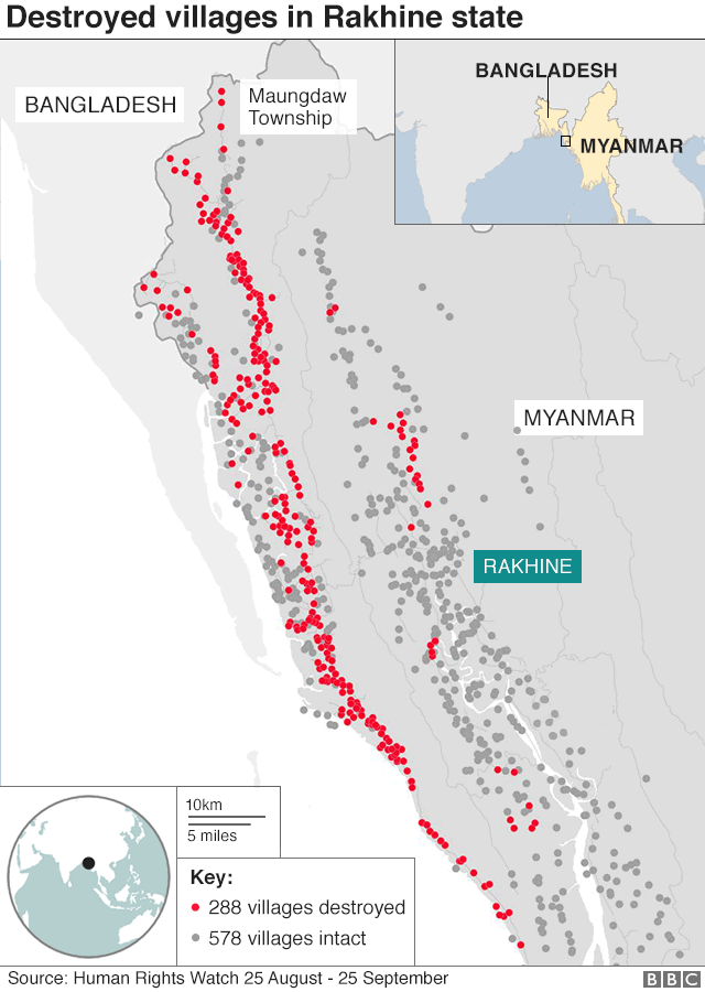 Map showing location of burned villages in Myanmar - and those left intact