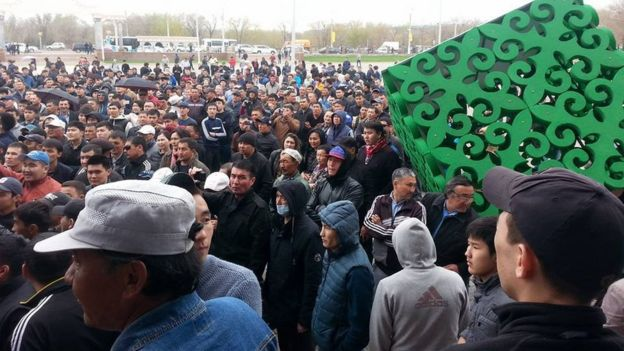 Protest in Aktobe, Kazakhstan, on Wednesday 27 April 2016