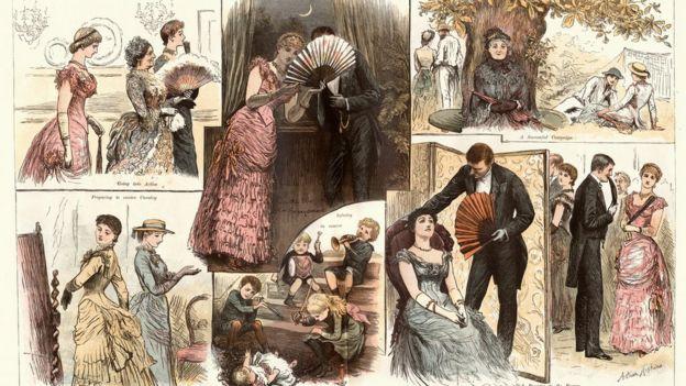 Ilustrações da era vitoriana da série 'The society war game' (1884) mostra diferentes cenas em que pessoas usam leques