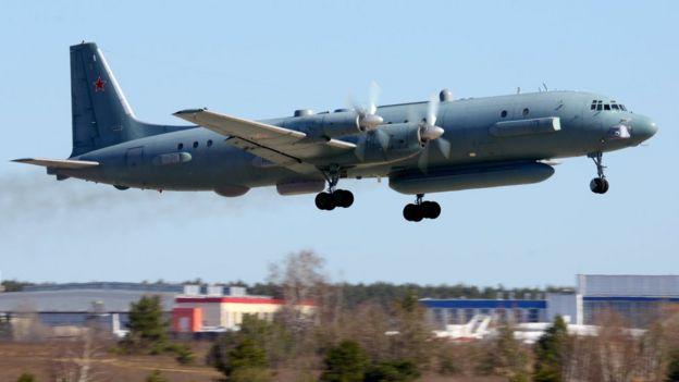 Ilyushin Il-20M 90924 reconnaissance airplane takes off at Zhukovsky