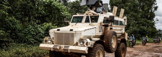A military truck of the United Nations Organisation and Stabilisation Mission in the Democratic Republic of the Congo (MONUSCO) patrols on the road linking Beni to Mangina