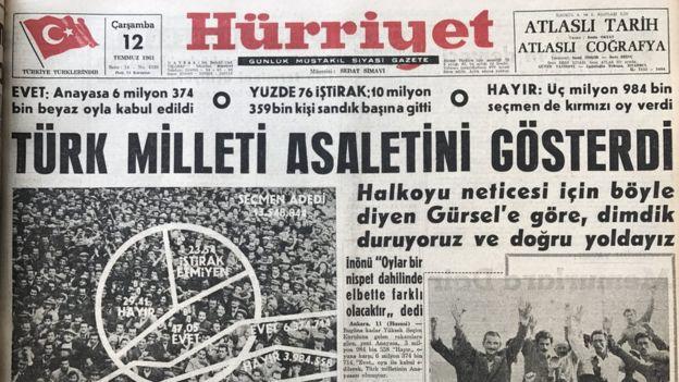 12 Temmuz tarihli Hürriyet gazetesi. Cemal Gürsel'in açıklamasını aktarıyor: Türk milleti asaletini gösterdi.