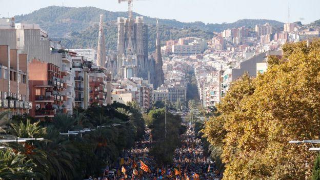 Separatist protesters in Barcelona, 26 October