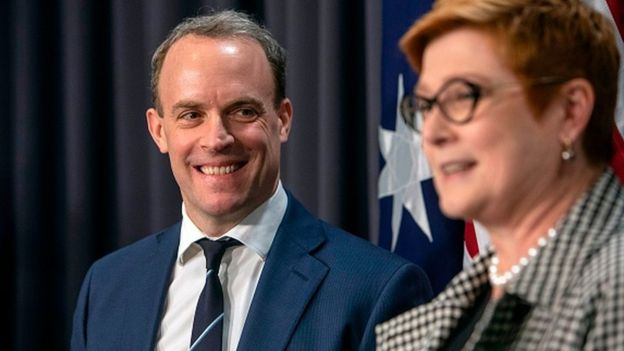 Britain's Foreign Secretary Dominic Raab and Australian Foreign Minister Marise Payne attend a joint press conference in Canberra