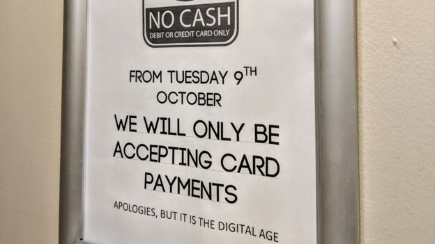 Pub notice announcing switch to card payments only