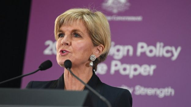 Australian Minister for Foreign Affairs Julie Bishop speaks during the official launch of the 2017 Foreign Policy White Paper at the Department of Foreign Affairs and Trade (DFAT) in Canberra, Australian Capital Territory, Australia, 23 November 2017