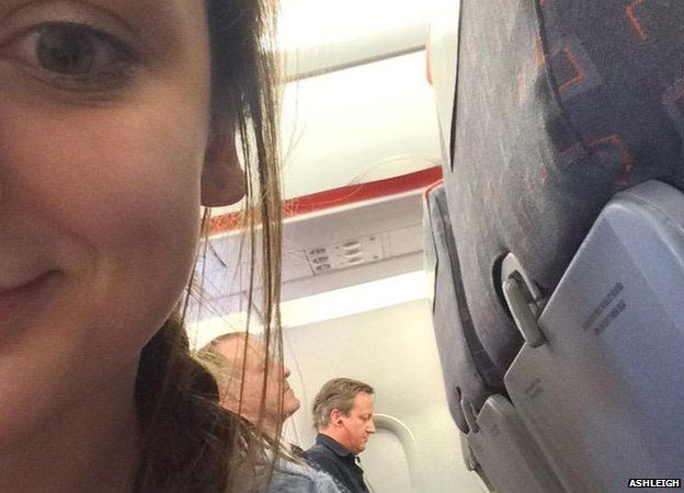 David Cameron on EasyJet flight