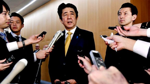 Japanese Prime Minister Shinzo Abe talks to reporters about GSOMIA pact with South Korea in Tokyo, Japan on November 22, 2019