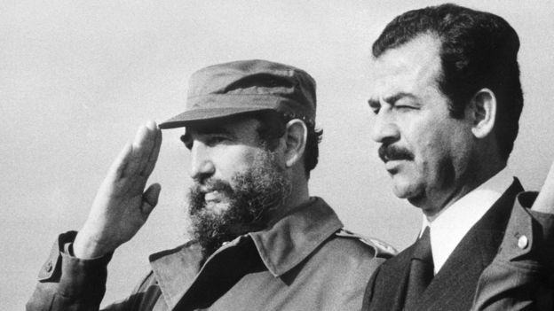 फ़िदेल कास्त्रो और सद्दाम हुसैन