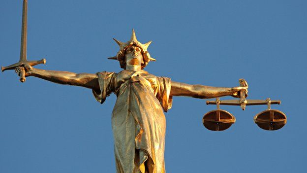The figure of Lady Justice at the Old Bailey in London