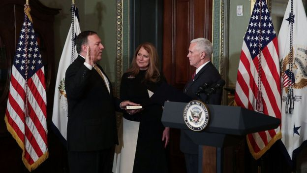Mike Pompeo is sworn in as CIA director by Vice President Mike Pence