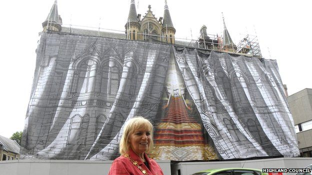 Inverness Provost Helen Carmichael and wrapped up Inverness Town House