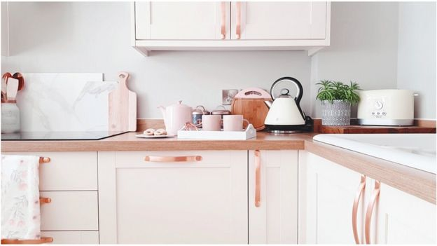 A rose gold kitchen