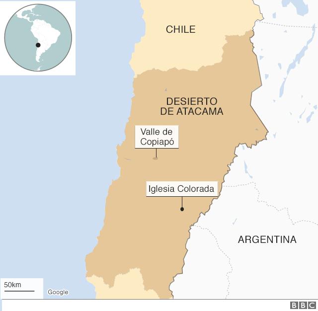 Mapa del norte de Chile