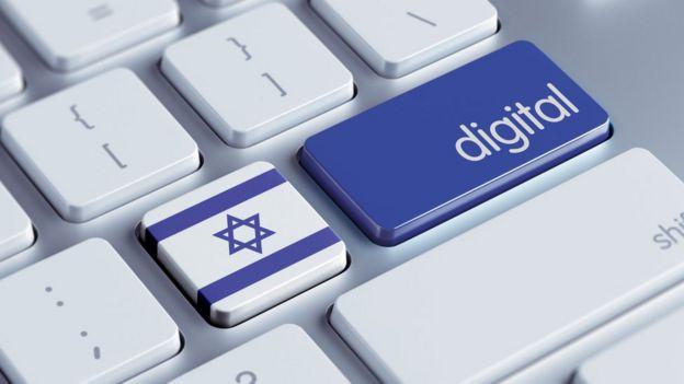 """Botón que dice """"Israel"""" al lado de botón que dice """"digital""""."""