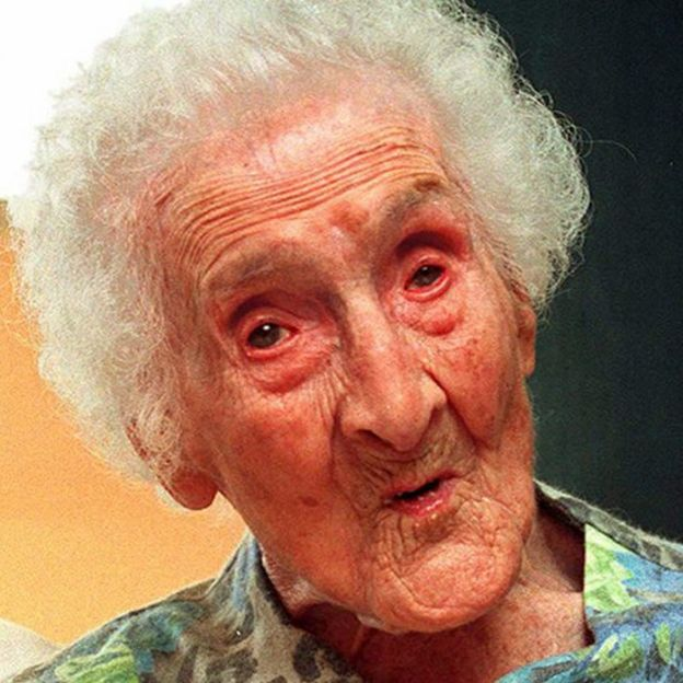 The French Jeanne Calment on her 120th birthday, in 1995.