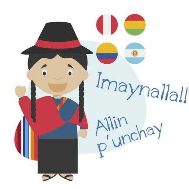 Ilustração mostra saudações em quechua, uma mulher com trajes tradicionais e bandeiras do Peru, Bolívia, Colômbia e Argentina