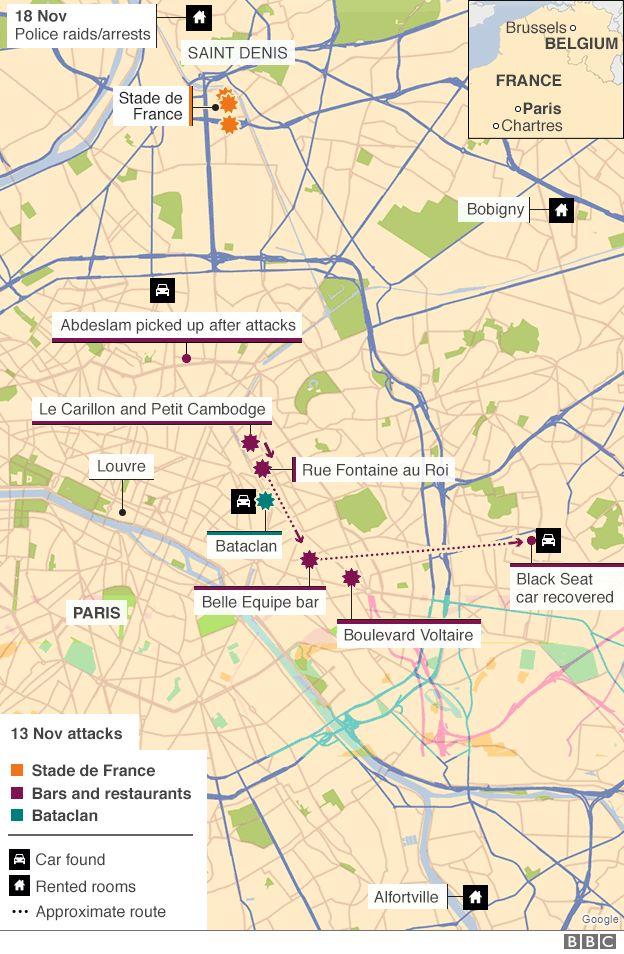 Map - Paris attackers' movements