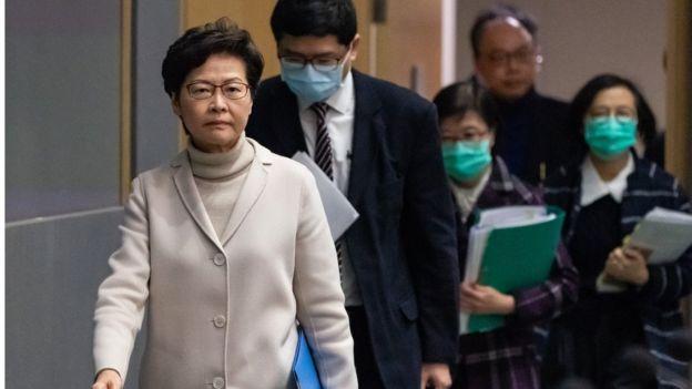 林郑月娥在记者会上没有带口罩。